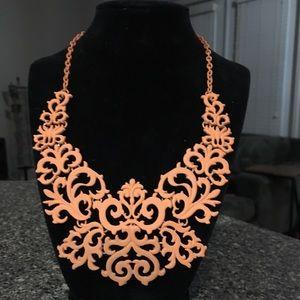 Orange Baroque Flat Bib Statement Necklace